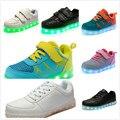 Novo Led luminoso Sapatos Meninos meninas Moda Acender crianças Casuais 7 Cores simulação único Carregamento USB Brilhante crianças sapatilha