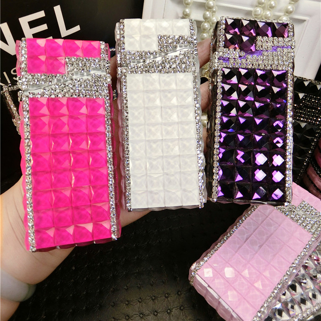 PITILLERA Diamonds Cigarette Case for Girls 1 piece Handmade Ladies Cigarette Case for Women Stainless Steel Metal Creative Thin
