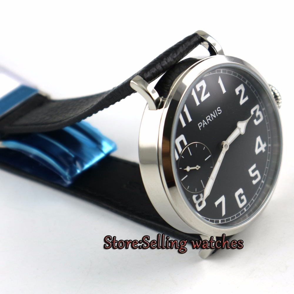 46mm parnis 빛나는 블랙 다이얼 6497 핸드 와인딩 가죽 스트랩 남성 시계 p2-에서기계식 시계부터 시계 의  그룹 2