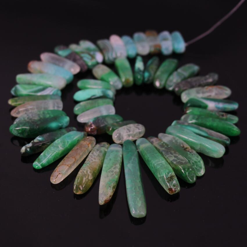 15.5Strand of Polished Green Dragon Ag ate Top Drilled Point Pendant Beads,Raw Aa gte Bullet Stick Graduated Necklace Beads