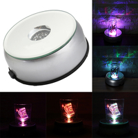 New 7 LED 4 Unique Rotating Crystal Display Base Stand White Light W AC Adapter