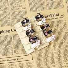 10 шт./упак. простой стиль Япония милый кот стиль деревянные зажимы пеньковая веревка мини клип бумажный мешок студентов DIY инструмент