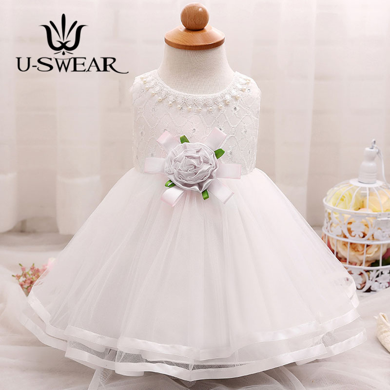 U-SWEAR 2019 New Arrival Kid   Flower     Girl     Dresses   Sleeveless O-neck Pearl Beaded   Flower   Appliqued Chiffon Lace   Dress   Vestidos