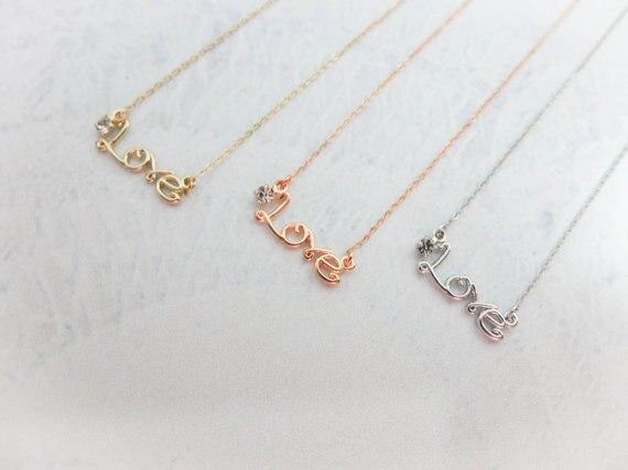 b94424b2d بسيط الحب قلادة قلادة-12 قطعة/الوحدة (3 ألوان شحن التجميع)-الذهب والفضة و  الذهب