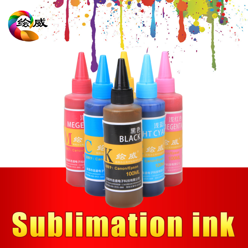 ФОТО Sublimation Ink  For EPSON Inkjet Printer  R230 T50 R270 1390 100ml / bottle 6 color Heat Transfer Ink