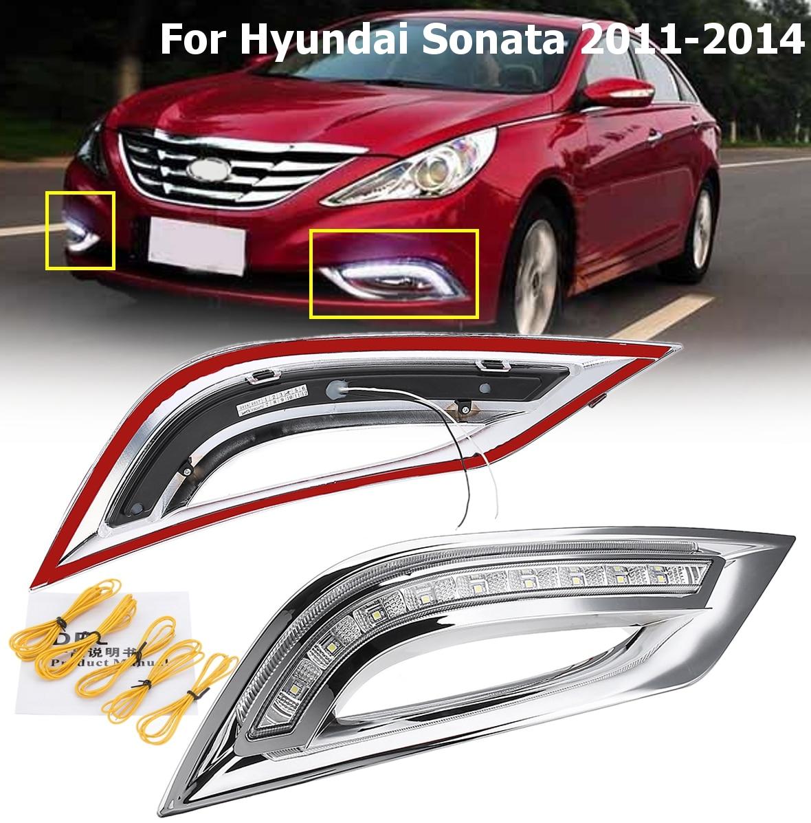 1 пара белый Габаритные огни светодио дный DRL LED поворота световой сигнал автомобиль Стайлинг для hyundai Sonata 2011 2012 2013 2014