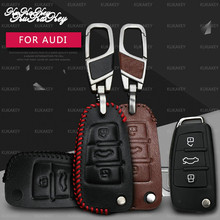KUKAKEY Leather Car Key Case Cover For Audi A6L Q7 A2 A3 A4 A6 A8 TT Smart Remote Protection Shell Bag Styling