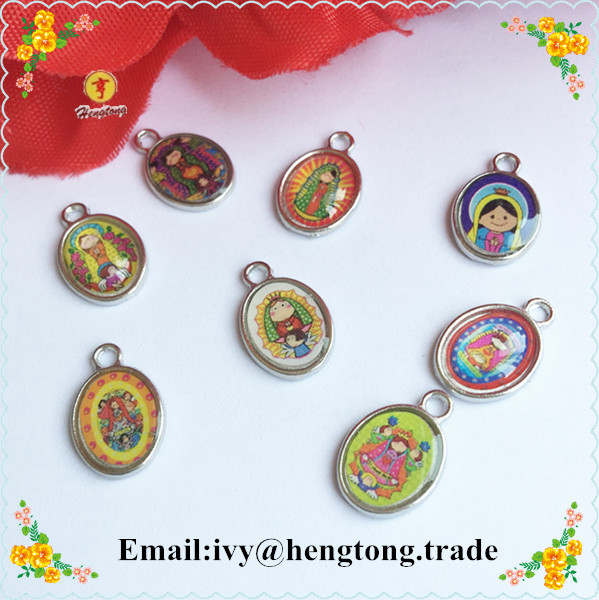 Free Shipping 120pcs/pack Baby Guadalupe Pendant,Guadalupe Charm,alloy Religious Icon Charm One Side  With Epoxy
