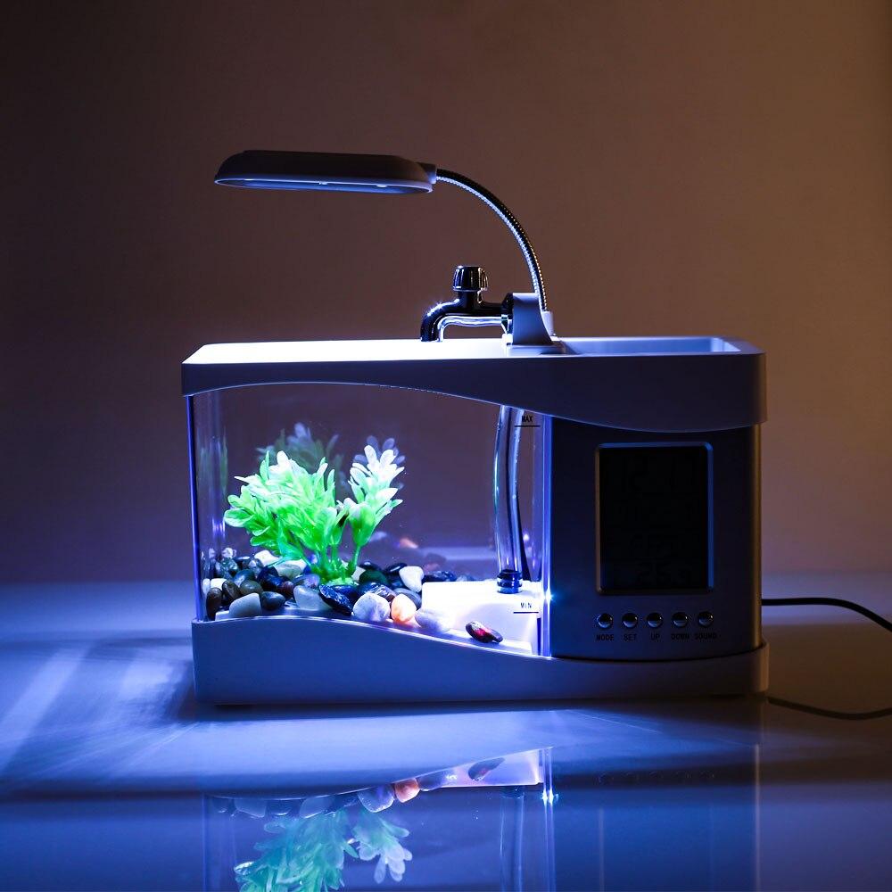 Lumière LED mode petit Aquarium Aquarium Aquarium Mini Aquarium pour bureau Durable poisson rouge bol lampe famille calendrier perpétuel - 4