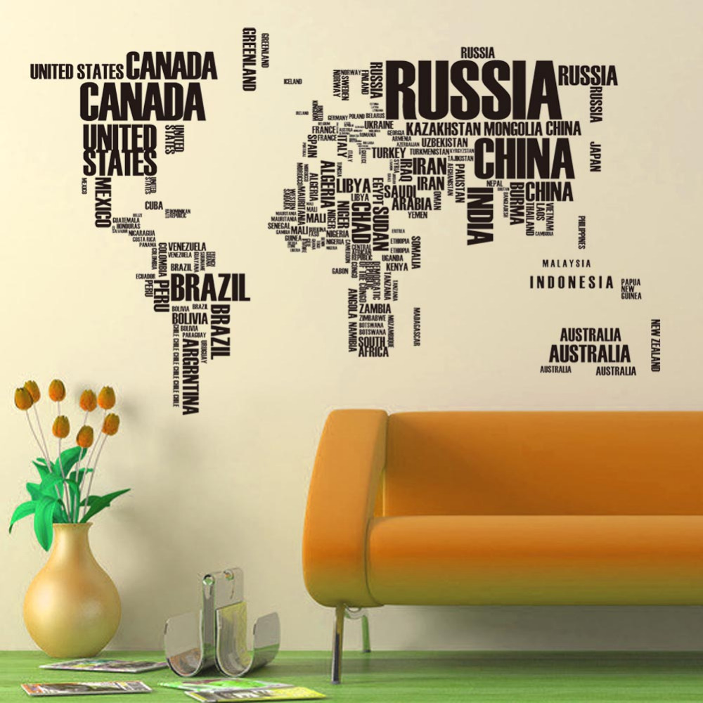 creative multicolor words world map vinyl office home decor wall stickers useful study wallposter for kids room decorative paper