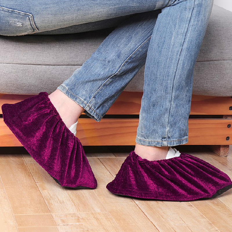 Indoor Adjustable Flannel Overshoes Washable Reusable Non Slip Shoe Covers HD
