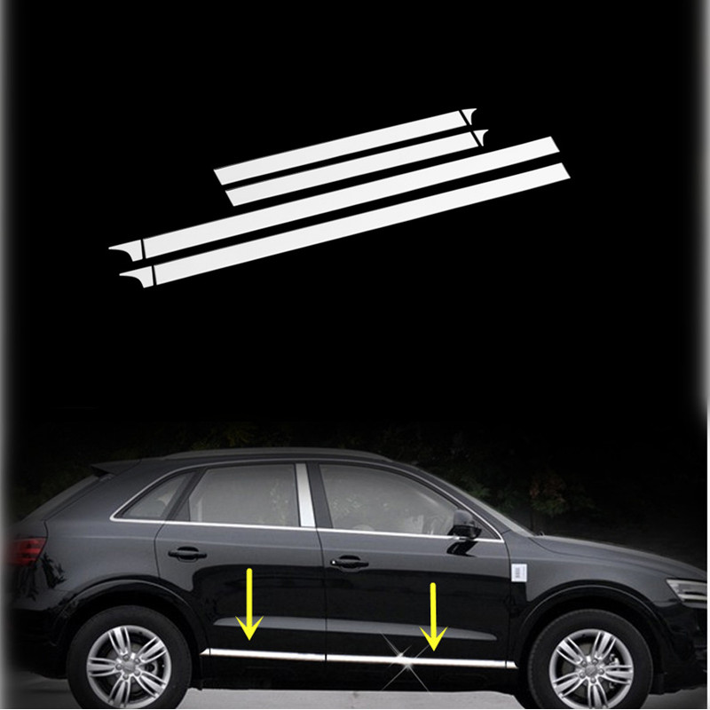 Stainless Side Door Body Molding Cover Trim 8pcs For Audi Q3 2013-2015 body shield body side cover black points