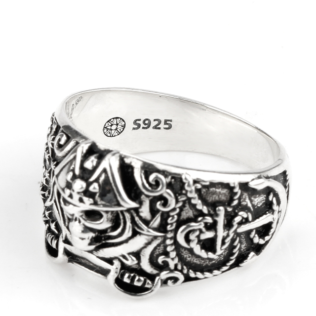 ORIGINAL 925 STERLING SILVER SKULL PIRATE RING