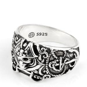 Image 4 - 925 anneau de crâne pour hommes en argent Sterling squelette crâne anneau Pirate ancre Biker Punk Style gothique pour les amoureux bijoux de fête