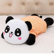plush orange laughing panda toy stuffed stripe cloth panda pillow gift about 68x33x22cm