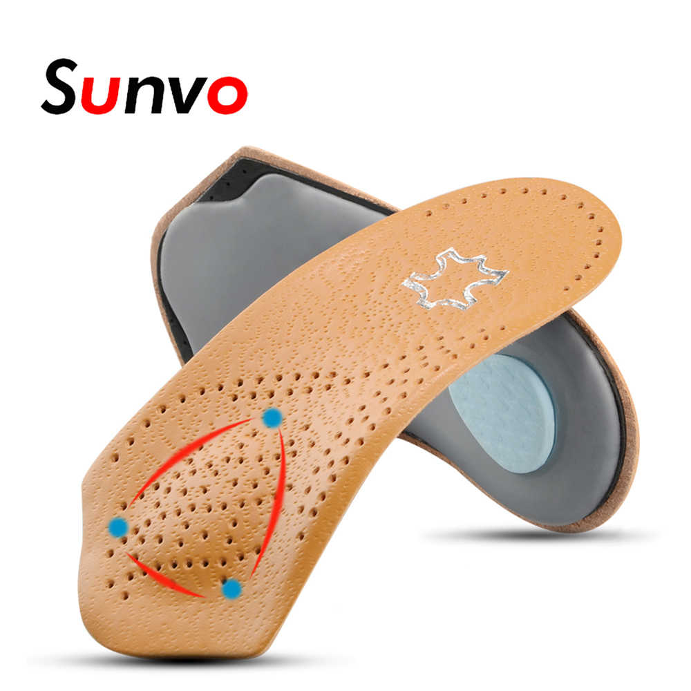 Sunvo Leather Orthotic Half Insoles for Flatfoot Heel Arch Support Pads 3/4 Length Orthopedic Shoes Insole Foot Health Care Sole