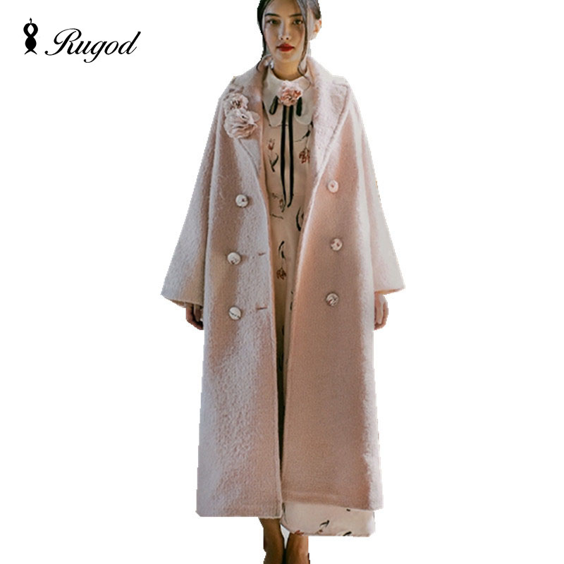 New Design Winter Women Pink Long Wool Coat Trench Vintage Warm Women's Coats European Fashion Thicken Jacket casaco feminino