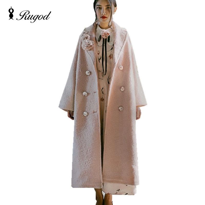 New Design Winter Women Pink Long Wool Coat Trench Vintage Warm Women's Coats European Fashion Thicken Jacket casaco feminino