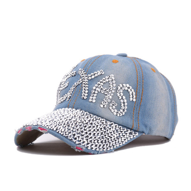 2da50684f15dc1 Fashion Cotton Jean Caps Women Rhinestone Baseball Cap JEAN Summer Hat Jean  Snapback Caps Denim Berets Caps Wholesale!YY0500