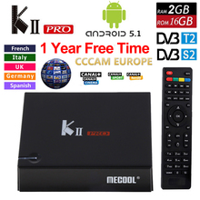 1 год Европа CCcam Клайн Кии Pro Android TV Box DVB-T2 DVB-S2 Amlogic S905 2 г/16 ГБ Android 5.1 TV Box Wi-Fi BT4.0 HDMI 4 К плеер