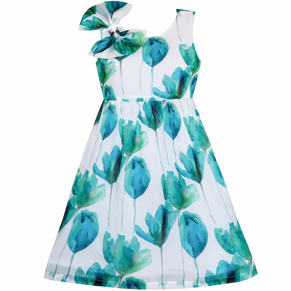 Sunny Fashion Girls Dress Bow Tie Heart Print Sleeveless Blue Size 7-14