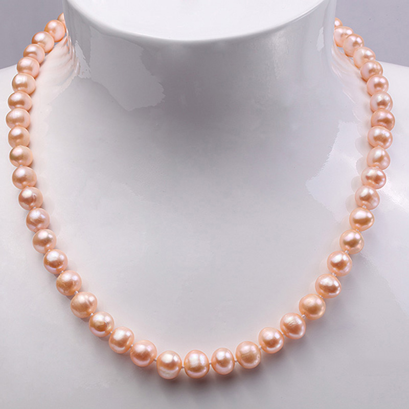 JYX Updated Genuine Purple Pink 8-9mm Real Round Cultured Freshwater Pearl Necklace 18