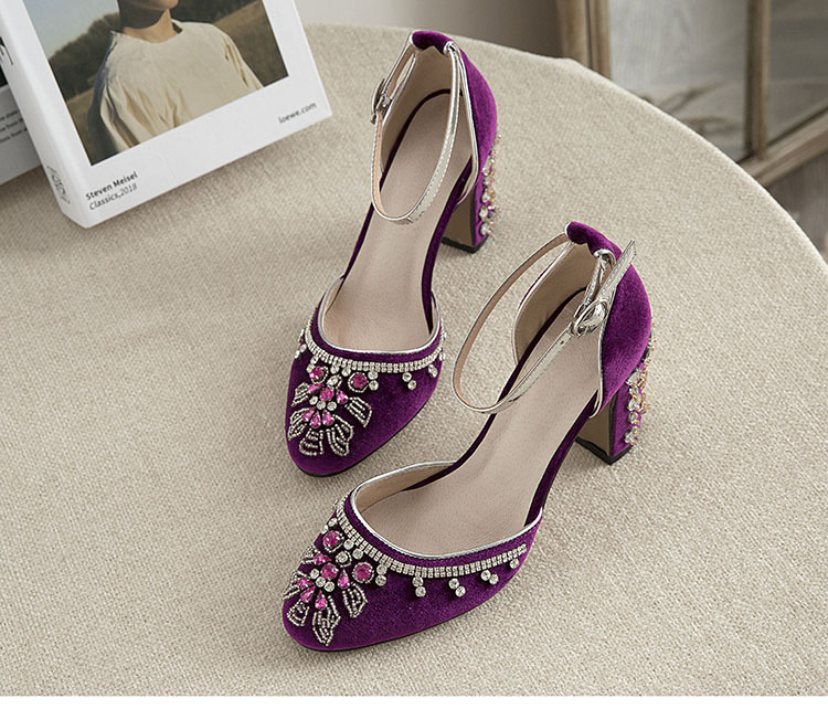 Purple flower crystal wedding shoes Mary Jane woman luxury shoes