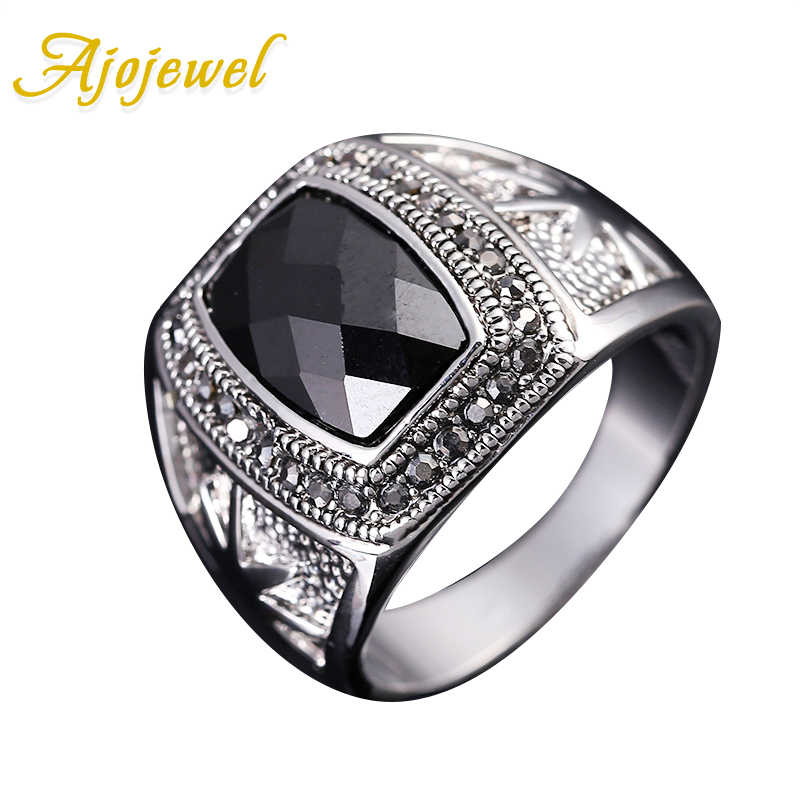Ajojewel Size 8-11 High Quality Zircon Mens Ring Black Vintage Jewelry Men Accessories