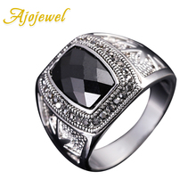 #7.8.9 Free Shipping High Quality Vintage Jewelry 18K White Gold Plated Black Stone Ring