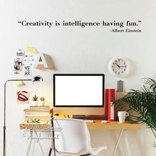 Creativity Is Intelligence Having Fun Quote Wall Sticker Quotes Decal DIY Removable Decors Cut Vinyl Q280