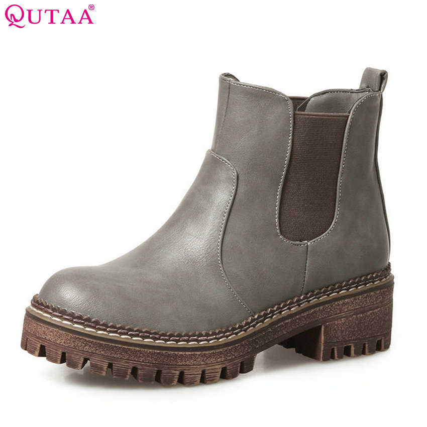 QUTAA 2018 Women Ankle Boots Elastic Band Fashion Pu Leather Square Heel Women Shoes All Match Round Toe Ladies Boots Size 34-43 qutaa 2018 high quality pu leather women ankle boots fashion square high heel zipper round toe all match women boots size 34 43