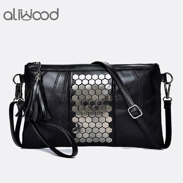 Aliwood Women's Genuine Leather Messenger Bags Rivet Clutch Ladies' Shoulder Bag Designer Handbags Tassel Crossbody Bag For Girl