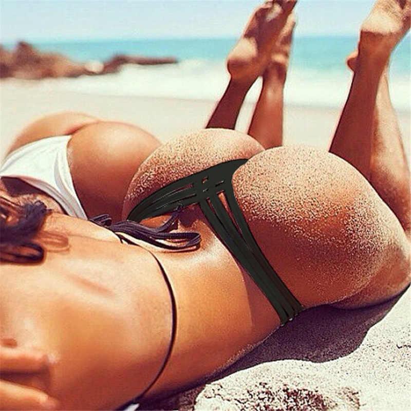 6 Warna Sexy Brazilian Nakal Bawah Baju Renang Wanita Celana Bikini Bottom Thong Baju Renang Klasik Memotong Celana Biquini Berenang Pendek