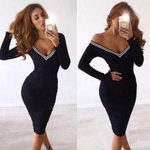 New Fashion Bandage Dress Women Long Sleeve V Neck Sexy Clubwear Bodycon Celebrity Party Dress Knee Length Vestidos