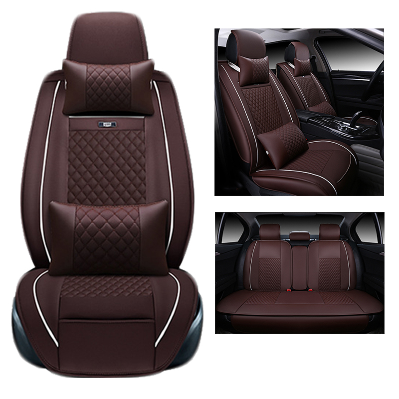 for TOYOTA Corolla RAV4 Highlander PRADO Yaris Prius Camry leather car seat cover front and back Complete set car cushion cover kalaisike leather universal car seat covers for toyota all models rav4 wish land cruiser vitz mark auris prius camry corolla