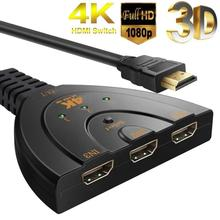 цена на Mini 3 Port HDMI Splitter Adapter Cable 1.4b 4K*2K 1080P Switcher HDMI Switch 3 in 1 out Port Hub for HDTV Xbox PS3 PS4 DVD HDTV