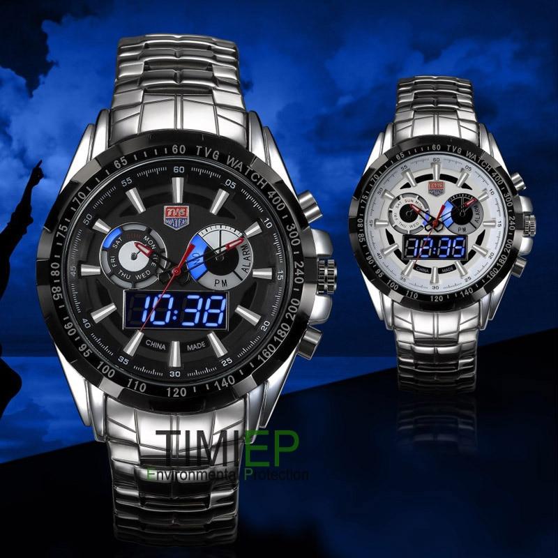 TVG Men İdman kişi tam polad Kvars hərbi saat Watch Hunter Blue - Kişi saatları - Fotoqrafiya 3