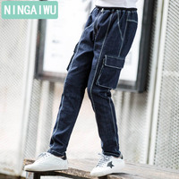 Boy's jeans The spring and autumn teenage trousers for 6 8 10 12 13 14 15 years childer's casual pants new overalls kids style