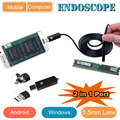 2 in 1 Android & PC Endoscope USB Inspection Camera  5.5MM Dia 6LED& Accessaries Waterproof Inspection Borescope Camera