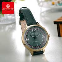 Julius Brand Woman Retro Leather Watch Simple Sports Round Big Dial Dress Wristwatches Waterproof Quartz Watches Female Reloj