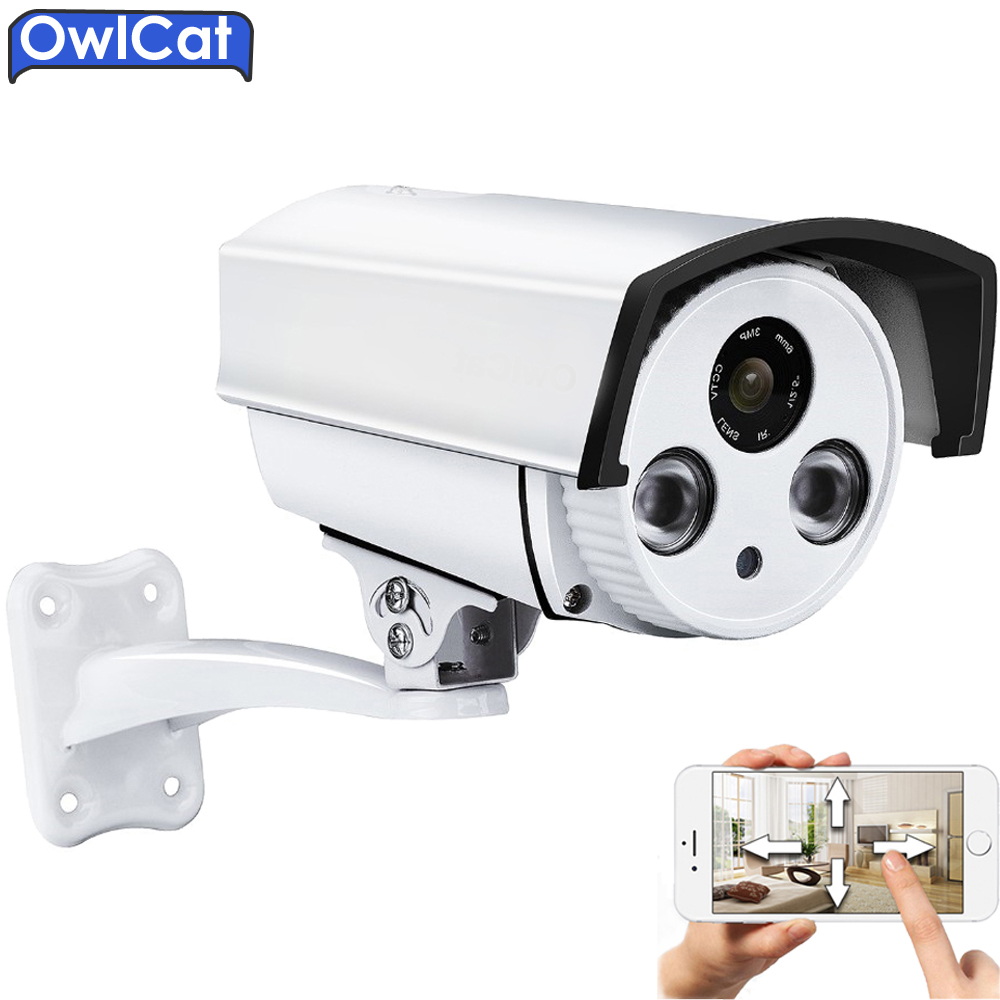 Owlcat Bullet Outdoor Waterproof WiFi IP Camera 1080P Audio Microphone Security CCTV Camera 2MP IR 30m Night Micro SD Card P2P owlcat wifi ip camera bullet outdoor waterproof onvif wireless network kamara 2mp full hd 1080p 720p security cctv camera
