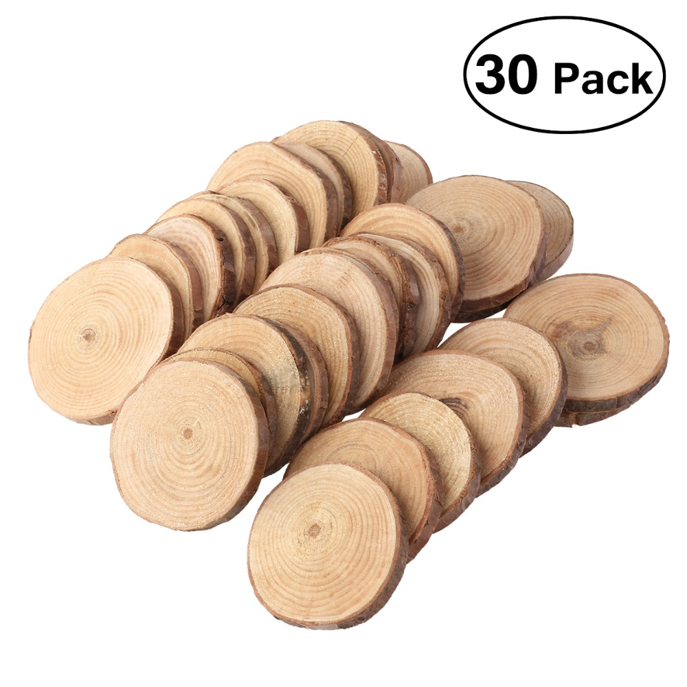 30pcs 4-5cm Assorted Size Natural Color Wood Slices Round Log Discs For Arts & Crafts Home Hanging Decorations Event Orname