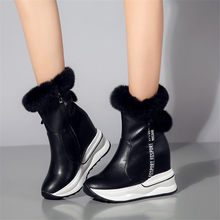 2019 Creepers Winter Warm Shoes Women Cow Leather Round Toe Wedges Ankle Boots High Heel Rabbit Fur Platform Pumps Punk Trainers
