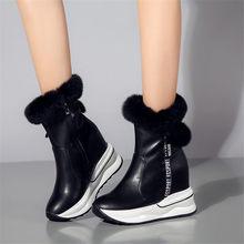 Купить с кэшбэком NAYIDUYUN    Winter Warm Shoes Women Cow Leather Round Toe Wedges Ankle Boots High Heel Rabbit Fur Platform Pumps Punk Sneakers