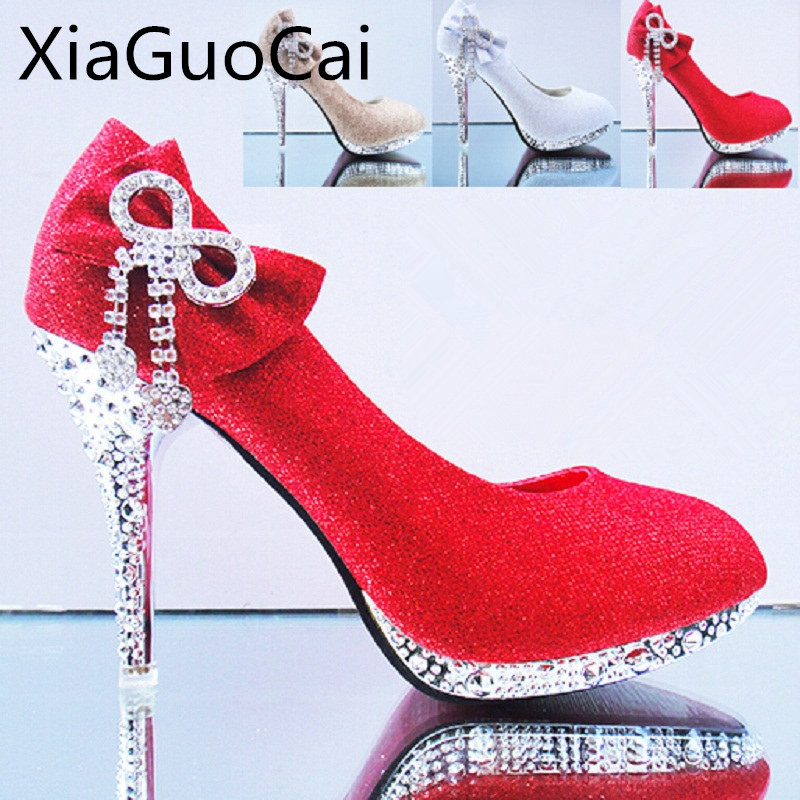 2015 Butterfly Knot Diamond Women Bridal Shoes High Heels