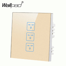 Hot Selling 3 gangs 1 way Gold touch light wall switch,Free Customize Buttons LED Tempered Glass touch switch,Free Shipping new arrival 2 gangs 1 way crystal glass led black diy touch light wall switch touch switch free customize words free shipping