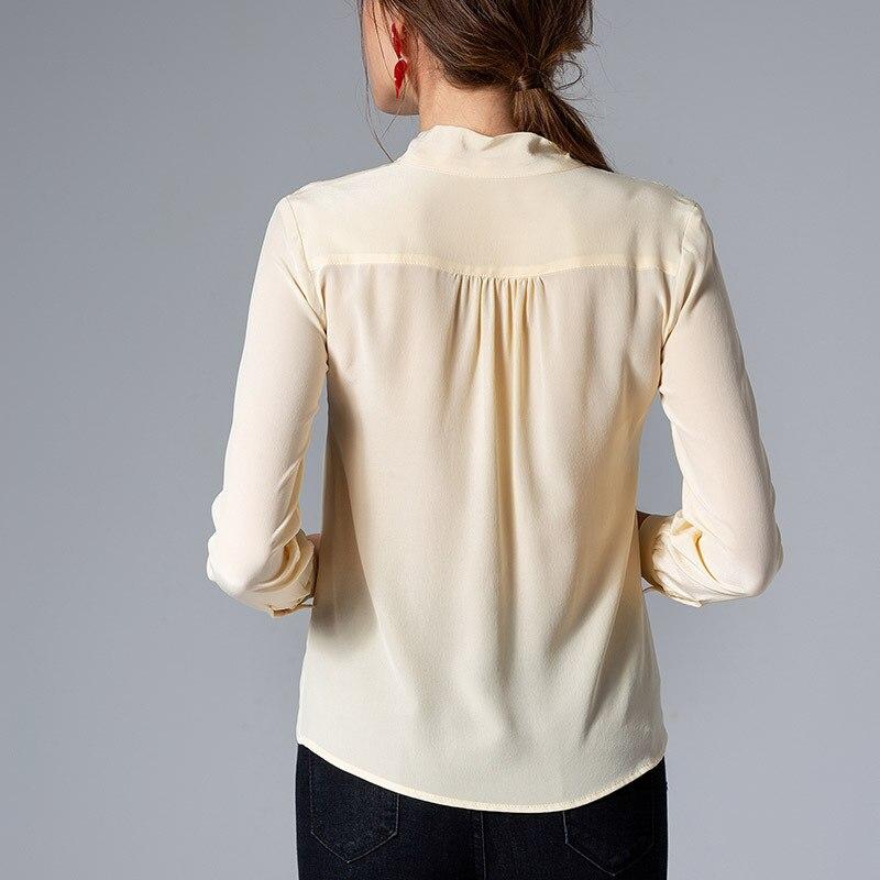 Manches Élégant Bureau Féminin 2019 Longues Chemise À Blouse Pour Soie Printemps Été Eté Femmes Solide Top Vêtements Arc qIv4wX
