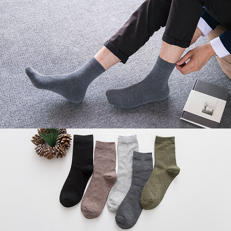 10 pairs/lot Mens compression Socks simple Solid Long Cotton dress socks Business Casual Breathable gifts for men Socks S027