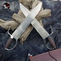 New Arrival high grade master Damascus steel Bart cham Dao knife pattern steel ba zhan dao Sifu Wing Chun martial arts swords