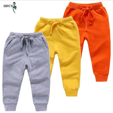 Retail Sale Cotton Pants For 2-10 Years Old Solid Boys Girls Casual Sport Pants Jogging Enfant Garcon Kids Children Trousers cheap OFCS skinny Unisex NONE Full Length Fits true to size take your normal size Elastic Waist Straight Spring 2018